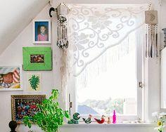 I love the piano shawl idea for a window curtain