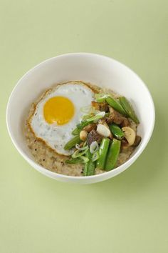 Farm: Table's Savory Steel-Cut Oats With Mushrooms, Snap Peas, Fried Egg & Spring Onions. Check out the recipe below. Food styled by Amanda Gold. Photo: Craig Lee, Special To The Chronicle