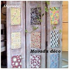 you could use scrapbooking paper, stained glass squares from the craft store, pictures, newspapers, possibilities are endless! - pallet diy - old wood - woodwork - Nice idea Furniture Projects, Diy Furniture, Diy Room Divider, Room Dividers, Room Divider Screen, Divider Ideas, Room Screen, Diy Home Decor, Room Decor