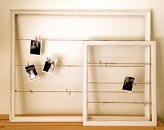 White Picture Frame with Twine and Sparkly Clothespins
