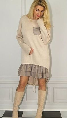 that lung 6 Fashion Details, Look Fashion, Womens Fashion, Fashion Design, Fashion Trends, Moda Casual, Knit Sweater Dress, Asymmetrical Tops, Mode Hijab