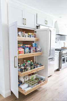 A large pantry was a must-have for my kitchen remodel! LOVE my new tall & deep p.-A large pantry was a must-have for my kitchen remodel! LOVE my new tall & deep pantry with pull out shelves – so much storage space! Kitchen Pantry Design, Diy Kitchen Cabinets, Home Decor Kitchen, Kitchen Interior, Kitchen Storage, Kitchen Ideas, Pantry Ideas, Best Kitchen Layout, Space Kitchen
