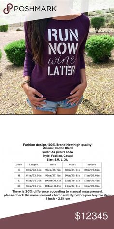 *Coming Soon* Trendy Top Run Now Wine Later top. Gotta love it! Coming Soon! New. No trades. Boutique Tops Blouses