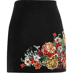 Black suede embroidered mini skirt