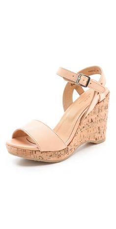 Nude wedge sandal. Hello Spring! (In a lower heel)