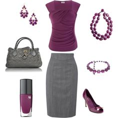 Plum & grey work outfit! This is really pretty though I'd need a pleated skirt cause I don't think I could rock a pencil (I think it's called pencil) skirt