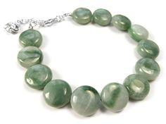 Gemstone Bracelet - Simple Jade Coin