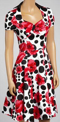 White  Pink Floral Polka Dot Fit  Flare Dress