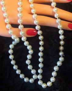 VINTAGE Opera Length Pearl Necklace - N-115 - Long Pearl Necklace - Pearl Strand - Strand of Pearls - Single Pearl Strand