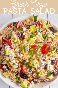 Greek orzo pasta salad with delicious vegetables and marinated in a lemony oregano vinaigrette. Perfect for a cookout or to enjoy meal prepped throughout the week! #pastasalad #orzopastasalad #greeksalad #greekpastasalad #salad #bbqside #sidedish #coldpasta #pastasaladrecipe #orzo Greek Salad Pasta, Greek Salad Recipes, Best Salad Recipes, Vegetarian Recipes, Healthy Recipes, Healthy Salads, Healthy Food, Cooking Recipes, Cold Pasta Dishes