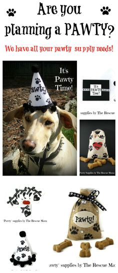 If you are planning a party for your dog check out our super cool PAWTY supplies! www.etsy.com/shop/therescuemama