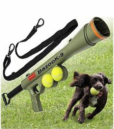 Works with standard tennis balls. Includes two squeaky tennis balls. Adjustable travel distance helps you determine how far you want to shoot your tennis ball. Extra storage for more balls, so you can shoot multiple balls for your pet to fetch. Best Dog Toys, Best Dogs, Tennis Ball Launcher, Pet Life, Pet Puppy, Dog Supplies, Large Dogs, Pet Toys, Dog Love