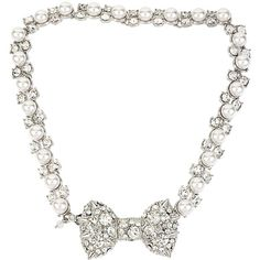 Betsey Johnson Pretty Pearl Punk Spiky Bow Choker ($49) ❤ liked on Polyvore featuring jewelry, necklaces, accessories, betsey johnson, crystal, new arrivals, white pearl necklace, bow necklaces, pearl bow necklace and pearl necklace
