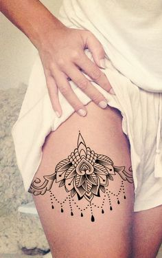 Lotus Thigh Tattoo Placement Ideas for Women at MyBodiArt.com - Celyon Lace Chandelier Mandala Black Henna Hip Tat