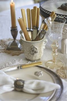 silver and cream...note the bees wax candles that you can make yourself...