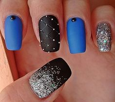 Black, Blue and Silver Matte Nail Design.