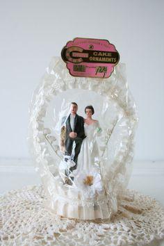 vintage wedding cake topper: bride and groom, in original package