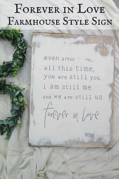Forever in Love Farmhouse Style Sign | Farmhouse Decor | Rustic | Cottage | Fixer Upper | Home Decor #Ad