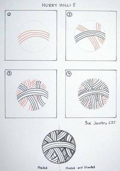 "# Zentangle tangle ""Hurry Holli"" by #CZT Sue Jacobs #CertifiedZentangleTeacher"