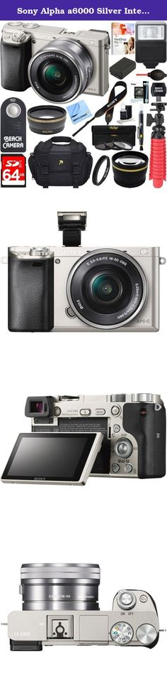 Sony Alpha a6000 Silver Interchangeable Lens Camera 16-50mm Power Lens + 64GB Accessory Bundle + DSLR Photo Bag + Extra Battery + Wide Angle Lens+2x Telephoto Lens + Flash + Remote + Tripod. Compact and Lightweight Mirrorless DSLR The a6000 is a super-compact mirrorless camera that's about half the size and weight of a typical DSLR, yet it has the same size APS-C sensor as most DSLRs. The interchangeable lenses and E-mount system make the a6000 more versatile than almost any other camera…