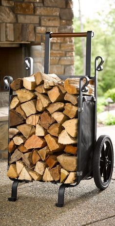 Save trips – and your back – when moving large loads of logs with our exclusive, heavy-duty Firewood Companion. Save trips – and your back – when moving large loads of logs with our exclusive, heavy-duty Firewood Companion. Firewood Holder, Firewood Storage, Firewood Basket, Outdoor Firewood Rack, Into The Woods, Metal Projects, Welding Projects, Diy Welding, Welding Tools