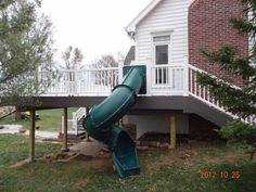 What a fun way to get down off of your new deck! Fun to build and fun to use. Premier Exteriors enjoyed creating this one. New Deck, Internet, Exterior, Park, Building, Fun, Buildings, Parks, Outdoor Rooms