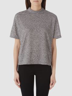 HIGH NECK - T-SHIRT, Medium Grey Melange
