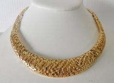 Statement Bib Necklace in Gold plate Signed by veryfrenchbydesign, $145.00