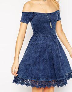 Image 3 ofASOS Skater Dress with Off Shoulder Detail and Crochet Hem