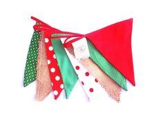 Banderines rojo + blanco + verde +arpillera