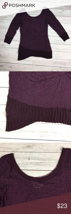 Deletta Anthropologie Lace  Sweater Trimmed Top GUC, Asymmetrical lace top with sweater trim and 3/4 length sleeves, Runs small, Beautiful purple color, Width 16'' Anthropologie Tops