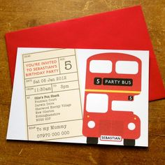 vibrant vintage red bus wedding set from top table design, party invitations