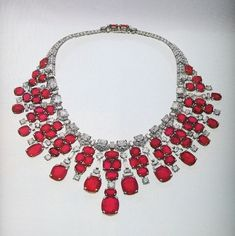 A Magnificent Cartier Ruby Diamond Necklace sold at Sotheby's in the 1980′s. Rumored to have belonged to Diva Ganna Walska.
