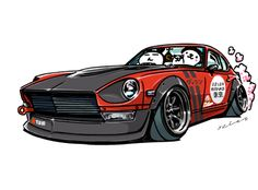 """""""crazy car art"""" jdm japanese old school """"S30Z"""" original characters """"mame mame rock"""" / © ozizo Official web shop """"STAY CRAZY (in Society6)"""" Official web shop """"ozizo(in Redbubble)"""" """"Crazy Car Art"""" Line stickers """"Crazy car Art"""" Telegram stickers"""