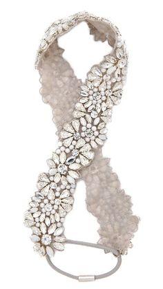 Jenny Packham Ananti Headband - Silver Pearl $240.00 AT vintagedancer.com