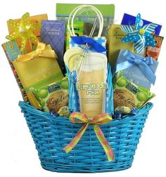 Full of color, cheer and yummy goodness, our Flavors of Summer Gourmet Gift Basket will help them to savor all of the refreshing and wonderful flavors of summer with this unique and beautiful gift basket overflowing with delicious treats, sweets, and summertime drinks. We've designed this colorful summer gift basket to offer deliciously refreshing summertime treats galore! $98.99   http://www.littlegiftbasketboutique.com/item_1124/Flavors-of-Summer-Gourmet-Gift-Basket.htm