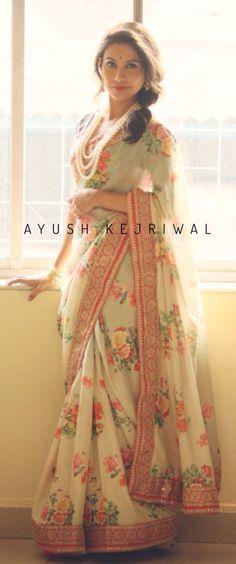 Beautiful #Floral_Saree by Ayush Kejriwal, #Glasgow https://www.facebook.com/Ayushkejriwalbyayush