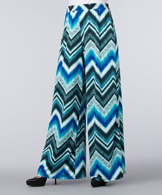 Loving this Blue & Aqua Chevron Palazzo Pants on #zulily! #zulilyfinds