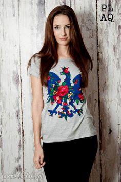 T-shirt szary PL Flower Blue Polaquito r. M. $48