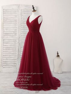 Simple v neck burgundy tulle long prom dress burgundy evening dress