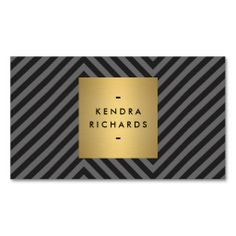 Retro Black and Gray Pattern with Gold Name Logo - Customizable Business Card for Bloggers