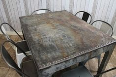 vintage steel tank table