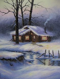 Snowy Cabin Original Oil Painting cabin in by VickieWadeFineArt
