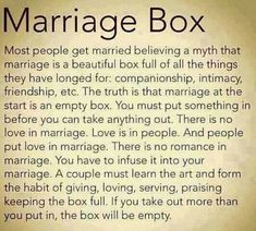 Marriage Box #marriage #love