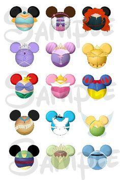 "Various Princess character inspired DIGITAL Bottle Cap image sheet 4x6 1"" inch  DIY Mickey head file"