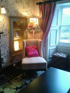a beautiful chair under a lovely lamp in The Swan Hotel  @ Newby Bridge South Lakes (lakedistrict)