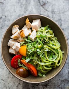 Quick and easy! 1-pot, 30 minutes Quickly sautéed zucchini noodles tossed with pesto, chicken and tomatoes. Gluten-free, Low-Carb, healthy, and delicious! On SimplyRecipes.com