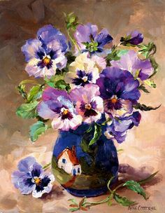 Pansies in Torquay Pottery greetings card by Anne Cotterill Flower Art Oil Painting Flowers, Watercolor Flowers, Painting & Drawing, Watercolor Paintings, Original Paintings, Oil Paintings, Flower Paintings, Arte Floral, Beautiful Paintings