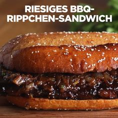 Huge BBQ-Ribs-Sandwich With this gigantic BBQ-Ribs . - Huge BBQ ribs sandwich With this gigantic BBQ rib sandwich you can easily fill up - Bbq Sandwich, Sandwich Recipes, Giant Food, Barbecue Recipes, Grilling Recipes, Cooking Recipes, Smoker Recipes, Cooking Food, Cooking Tips