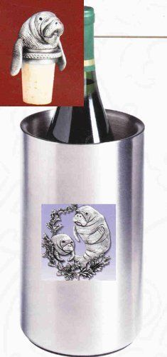 Manatee Wine Chiller with Manatee Pewter Bottle Stopper . $62.95. Manatee Single Bottle Iceless Stainless Steel Wine Chiller with detailed pewter emblem. Double walled and thermal insulated. Will keep a prechilled bottle of wine cool up to three hours. Manatee pewter Bottle Stopper comes with attached chain and pewter ring which slips over a bottle's neck. The cork shown in the picture has been replaced by a stronger non-staining, non-breakable burgundy synthethic cork. Now als...